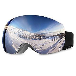 Asommet Skibrille Snowboard Brille Doppel-Objektiv Skibrille Für Damen und Herren Jungen und Mädchen (Schwarz Rahmen/Silber Linse)