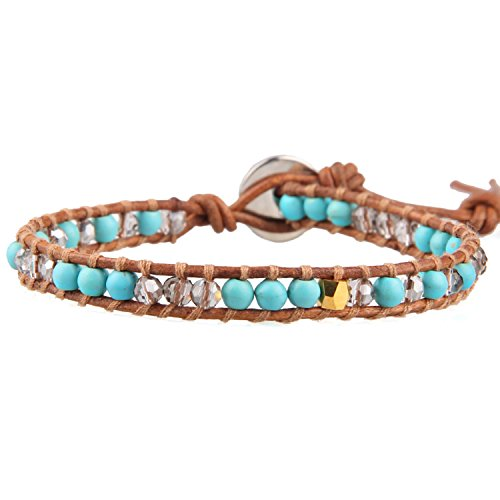 KELITCH Armbänder Damen Herren Türkis Perlen Hellbraun Leder Sommer Bewegung Damen Freundschaftsarmbänder Armband - #D - Mit Türkis-perlen Armband