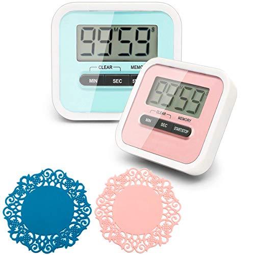 CKANDAY 2 Stück Digitaler Küchentimer mit 2 Mini-Tee-Untersetzer, Koch-Timer, Wecker, magnetischer Rückseite, Clip und Ständer, Minuten-Sekunden-Positiver Countdown-Countdown, großes LCD-Display