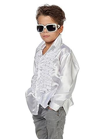 Chemise Disco-Disco froufrous de blanche enfants des années 70 XL (EU176 15-16yrs)