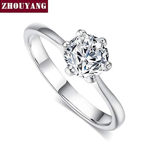 ZUXIANWANG Ring für Frauen Hochzeit Ring Silber Zirkonia Six-Claw Runde 1 Karat 6 mm Modeschmuck, 9.