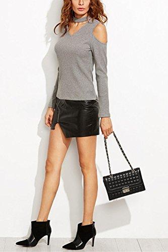 Frauen - Halsband V - Kalte Schulter - T - Shirt. Grey