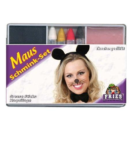 Schminkset Maus 6tlg. Mausset Foundation + 4 Schminkstifte + Abschminke Karnevals - Schminke
