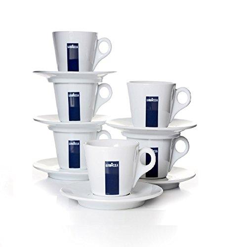 6 X Lavazza Espresso Tassen und Untertassen -Kapazität cc 75, h...