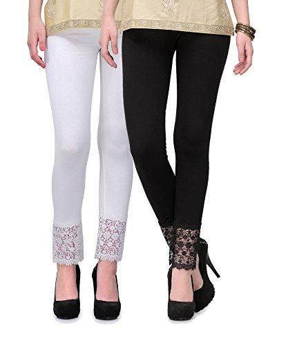 Esszee Women\'s Viscose Palazzo Lace Legging(sz-plazzolegging-Viscose-pack-201, White and Black, Free Size) - Pack of 2