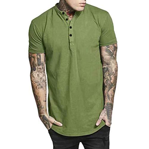 Party Kragen (Oliviavane Herren Mode Einfarbig Kurzarm Hemden Beiläufige Button Down Kragen T-Shirts Sommer Slim Fit Casual Tops Bluse Urlaub Beach Party Freizeithemd)