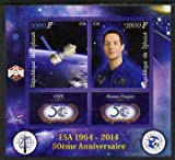 Djibouti 2014 50th Anniv of European Space Agency - CSTS & Thomas Pesquet perf sheetlet 2 values plus 2 label u/m PERSONALITIES SATELLITES ESA JandRStamps