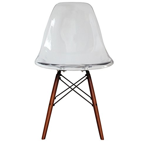 Silla de comedor de plástico con patas de madera Eiffel, estilo de inspiración escandinava, Patas de nogal, transparente, H: 82cm W: 46cm D: 50cm. Seat Height: 44cm