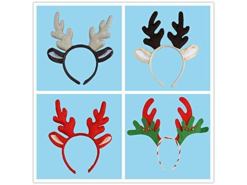 BHYGHuj Haus Dekoration Nette lustige Rentier Stirnband Party Hairband Weihnachten Fancy Head Band mit Bell Kleid Kostüme Zubehör (zufällig)