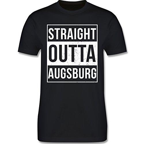 Schwaben Männer - Straight Outta Augsburg Weiss - L190 Schlichtes Männer Shirt Schwarz