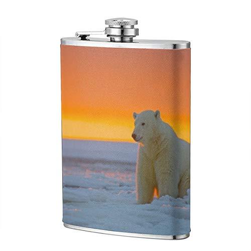 Alaska Eisbär, Eisbär, Schnee, Flachmann, Taschenflasche, 227 ml, tragbar, Edelstahl -