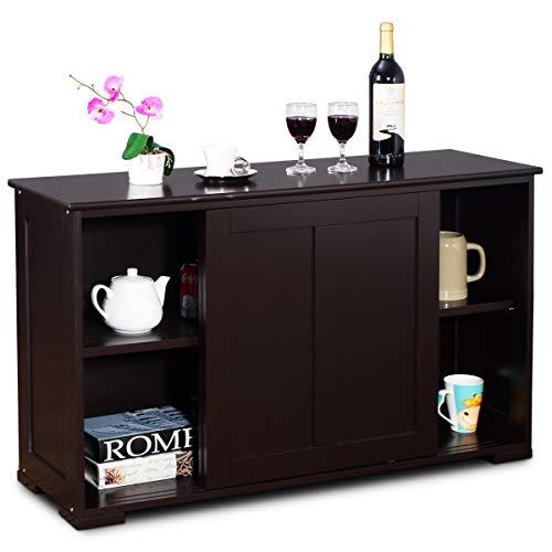 Goplus armadietto da cucina di legno,armadio con 2 ante scorrevoli, marrone/bianco 107x63x33 cm (marrone)