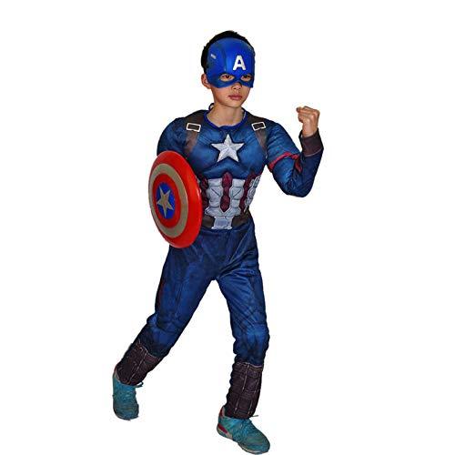 XINFUKL Kinder Captain America Kostüm Schild Maske Kostüm Bühne Leistung Halloween COS Anime Kostüm Für Erwachsene Thema Party Requisiten,Blue-XL (Halloween Captain America Weiblich Kostüm)