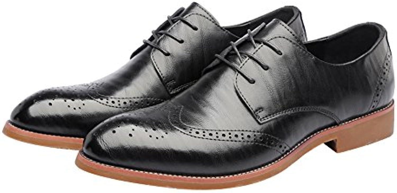 Ruiyue Zapatos Oxford de Cuero para Hombres, Zapatos Brogue de Negocios con ala Mate Talla Hueca de Cuero Genuino... -