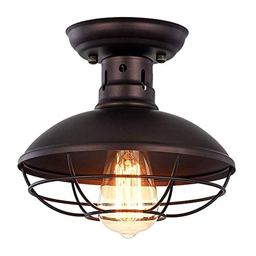 AKKK Metallkäfig-Deckenleuchte Semi-Embedded Mini Kronleuchter Beleuchtung Öl Reiben Bronze Kronleuchter Bauernhaus Veranda Küche Badezimmer