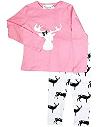 FUNKRAFTS Reindeer Print Pink/White Girls Night Suit