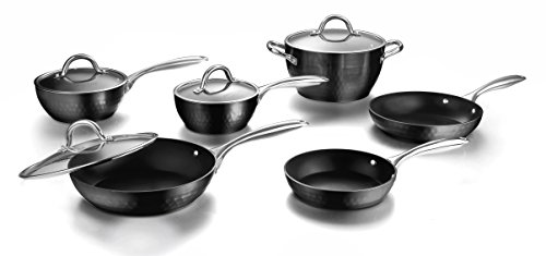 COOKSMARK Diamond-Infused Nonstick Induction Safe Cookware Set, Scratch-Resistant Pots and Pans Set with Glass Lids Oven Safe 10-Piece, Black