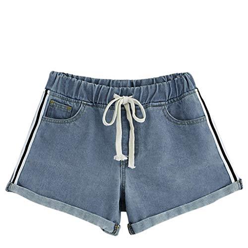 Staresen Jeansshorts Shorts Damen Sommer Mode Frauen Kurze Hose Lose Shorts Damen Strandshorts Sporthose Sommer Hot Pants Beiläufig Fitness Yoga hosen Shorts mit breiter Beintasche und Quaste