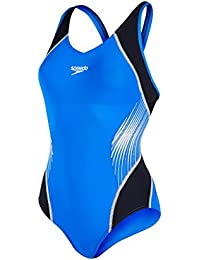 Speedo Damen Fit Splice Muscleback Badeanzug, Black/Deep Peri/White, One Size