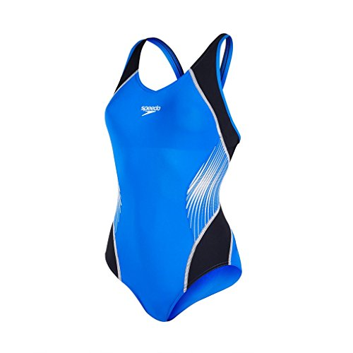 Speedo Damen Fit Splice Muscleback Badeanzug, Black/Deep Peri/White, (Badeanzug Mit Unterstützung Büste Speedo)