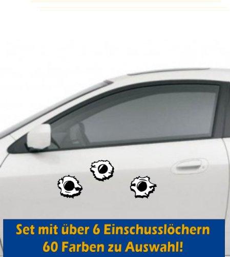 Einschusslöcher Auto Aufkleber Tattoo, Auto Einschuss Loch Set - 6-teilig, jeweils ca. 5 cm Tuning Styling Gun Bullet Holes