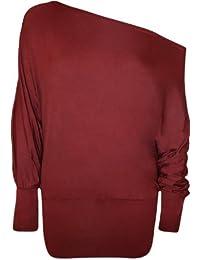 WearAll - Damen einfach aus Schulter 'Batwing' Tunika langarm Top - 21 Farben - Größe 36-48