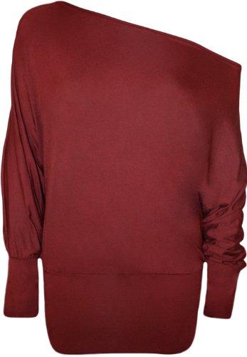WearAll - Damen einfach aus Schulter 'Batwing' Tunika langarm Top - Pflaume - 36-38 (T-shirt Pflaume Top)
