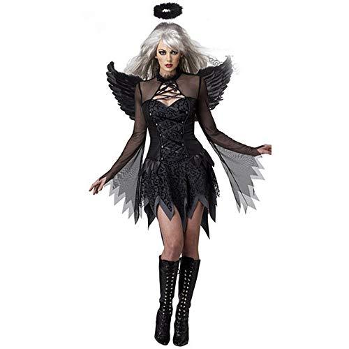 GAOJUAN Halloween Cosplay Kostüm Erwachsene Cosplay Sexy Dark Angel Kostüm Spiel Uniform Vampir Braut Dämonen Kostüm Geeignet Für Karneval Thema Parteien Halloween,Black,M (Adult Dark Angel Kostüm)