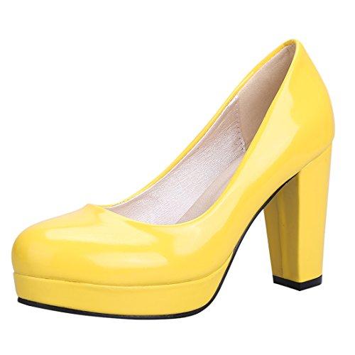 new york 7926a bdfec YE Damen Chunky Heels Lack Pumps mit Blockabsatz High Heel Plateau Work  Office Kleid Schuhe Gelb