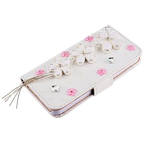 GrandEver 3D Bling Strass Leder Handyhülle für iPhone 5 5S Flip Case Glitzer Schale Tasche Folio Wallet Case Diamant DIY Crystal Cover Schutzhülle mit Standfunktion und Kreditkarte Magnetverschluss +  Blumen