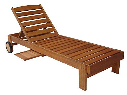 AVANTI TRENDSTORE - Molina - Sdraio da giardino in legno di teak con schienale regolabile, rotelle e poggiabevande integrato, dimensioni: LAP 183x82,5x66 cm