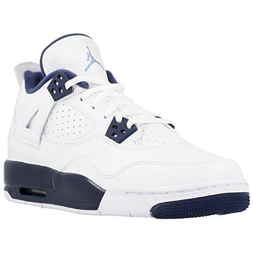 Nike BG (GS) Air Jordan 4 Retro 'Legend Blue' White/Legend Blue-Midnight Navy Trainer Size 5 UK (Jordan Blue Schuhe Legend)
