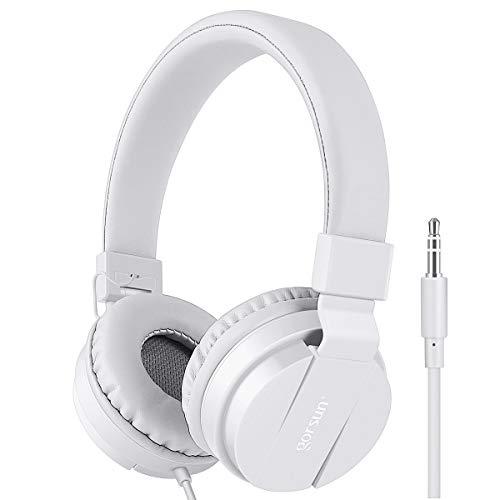 Gorsun® Premium Kinderkopfhörer, Faltbare Kopfhörer für Kinder, verstellbare Leicht-Kopfhörer für Jungen und Mädchen-Weiß