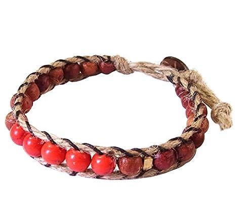 Artisan Asiatique Bracelet Fait Main 100% Chanvre Corde Howlite Pierre Perles En Bois Laiton Rouge