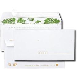 Paquet de 40 enveloppes extra blanches 100% recyclées DL 110x220 80 g/m² bande de protection