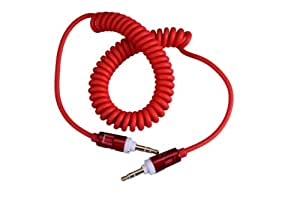 CELL FIRST 3.5 Male to Male Stereo Audio Extension Aux Coiled Cable For iPhone Samsung etc.