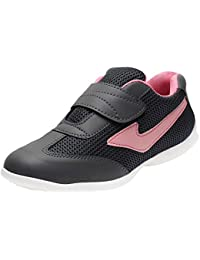 AUTHENTIC VOGUE Women's Multi-Sports Running/Jogging Shoes in Ultra Lightweight Sole with Hook & Loop Fastner- Pink & Black