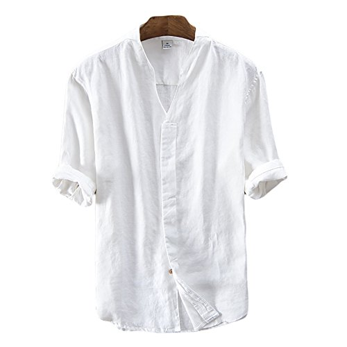 Icegrey camicia uomo camicie di lino a maniche corte con v collo estive camicia bianco 54