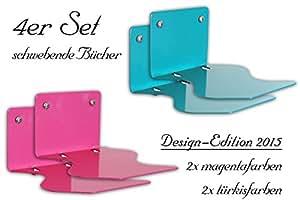 4er set unsichtbares b cherregal design edition. Black Bedroom Furniture Sets. Home Design Ideas