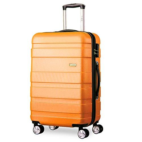 Flieks - Set di valigie rigide, 3 pezzi, 3 pezzi Set di 4 rotelle doppie per trolley con serratura a combinazione, XL-L-M Arancione Orange m