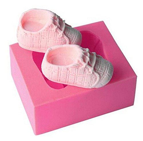 Baby Schuhe Formen (Gluckliy Baby Schuh Form Silikon Backform Fondant Sugarcraft Kuchen Dekorieren Werkzeuge Küche Zubehör Bakeware Backzubehör, Rosa)