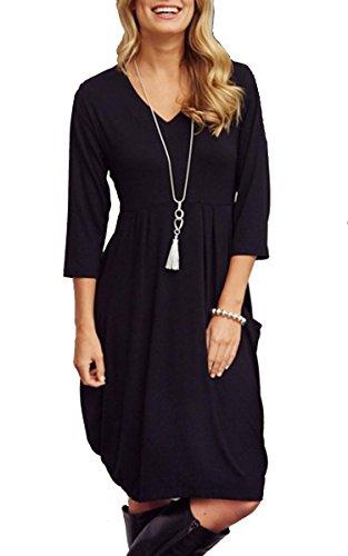 ECOWISH Damen Mode V-Ausschnitt Pullover Mini kleid Rundhals 3/4 Ärmel Knie-Länge Flexibel Kleider Schwarz L (Knie Pullover Länge)