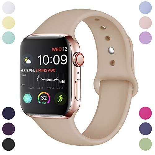 Hamile Armband Kompatibel für Apple Watch 38mm 40mm, Weiche Silikon Wasserdicht Ersatz Uhrenarmbänder für Apple Watch Series 4, Series 3, Series 2, Series 1, S/M Nussbaum Womens Nussbaum