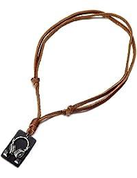 Diseño de Auriculares, Collar con Colgante de Hombre Mujer, con Cordón de Cuero Ajustable