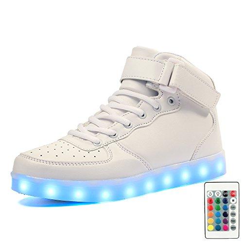 Voovix Kinder High-top LED Licht Blinkt Sneaker mit Fernbedienung-USB Aufladen Led Schuhe für Jungen und Mädchen Weiß