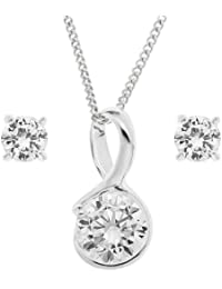 Ornami Sterling Silver Cubic Zirconia Solitaire Pendant and Earring Set with Chain of 46cm