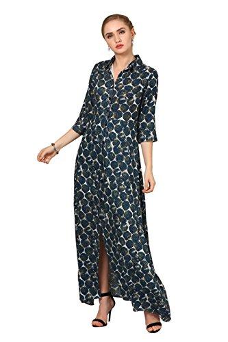 Elywomen Multicolored Collar Neck Rayon Printed Maxi Dress