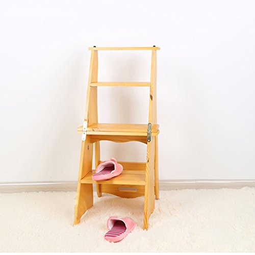 Multifunktions Klapp Dual-use Step Hocker Indoor Massivholz 4-Stufen-Leiter Stuhl Einfache Haushalt Treppe Hocker ( Farbe : Honigfarbe )