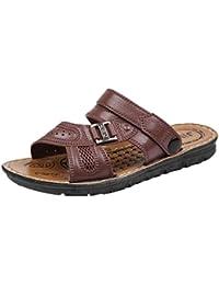 QinMM Hommes Pantoufles Flip-Flops Tongs Ville Chaussures de Plage, Sandale  Bout Ouvert Classique Boucle Métallique Été Mode Bas… 465aa2249e31
