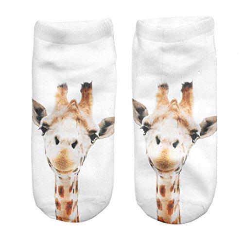 Ferocity Lustige Socken Sneaker Halbsocken Strümpfe Sportsocken Füßlinge mit Motiv 3D Giraffe [001]